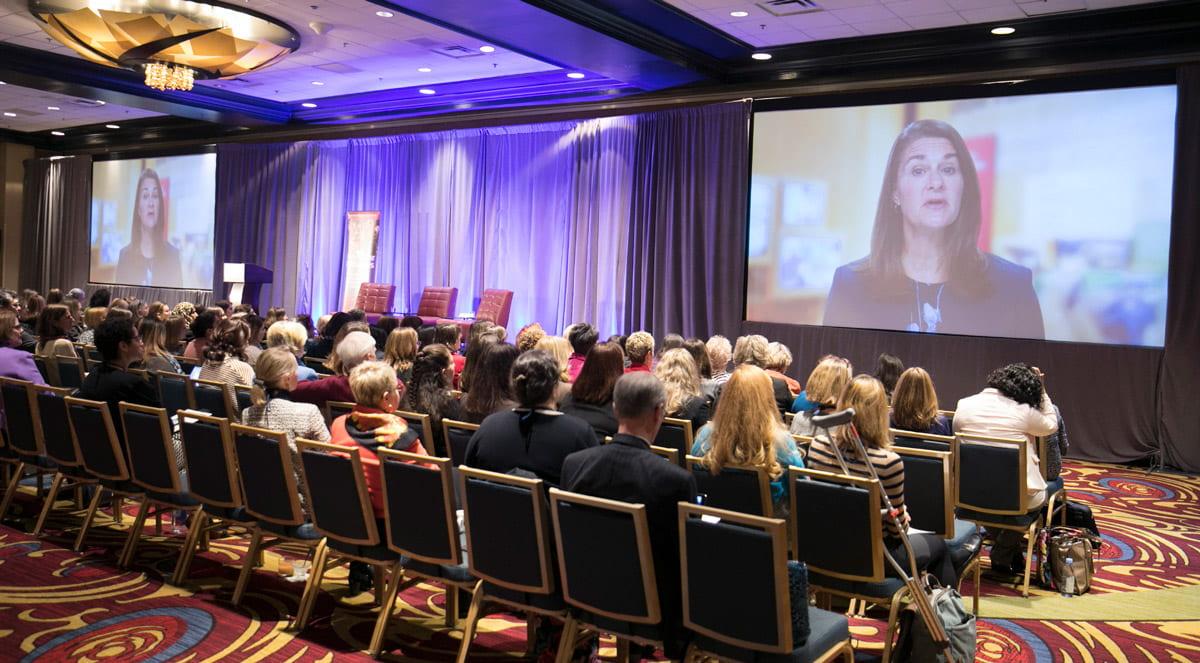 Melinda French Gates speaks to the audience at the 2017 WPI symposium