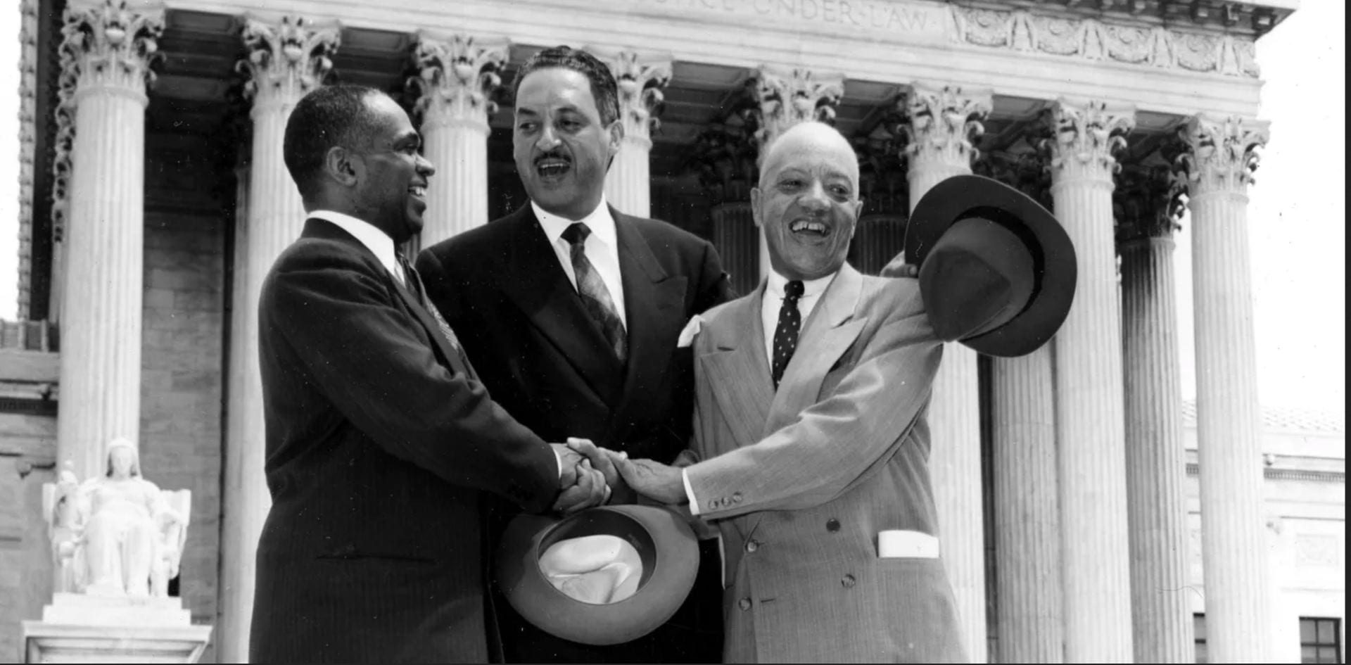 Attorneys George E.C. Hayes, left, Thurgood Marshall, center, and James M. Nabrit, all HBCU grads, successfully sought to defeat school segregation in court.