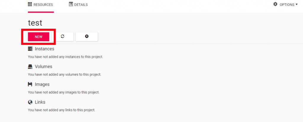 screenshot highlighting the location of a project's 'NEW' button to access a new instance, volume, or link
