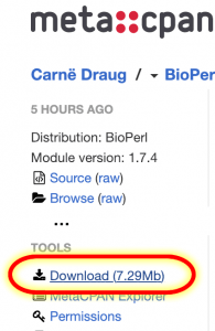 screenshot highlight the download button for cpan software on BioPerl website