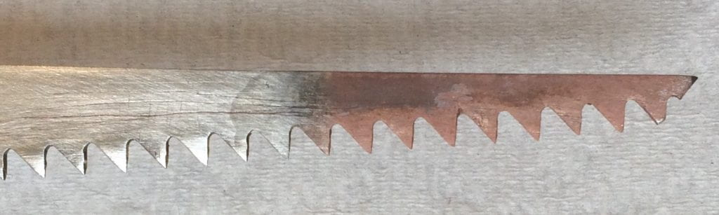 "steel sawblade undergoing ""transmutation"""