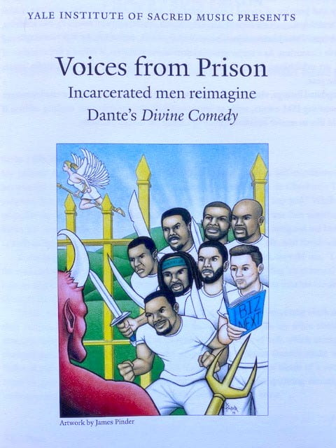 A poster of a performance organized by Ron Jenkins that evocatively represents the reimagining of Dante's poem through the lens of incarceration and lived experience with the justice system.