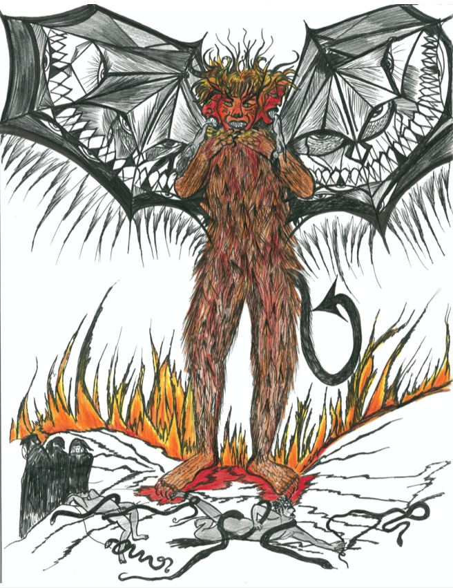 A drawing of the devil by Lynda Gardner, who participated in a Dante workshop during her incarceration.