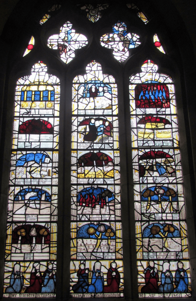 Stained glass at the parish of All Saints North Street in York depicting the 15 Signs.