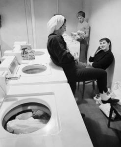Young women doing laundry