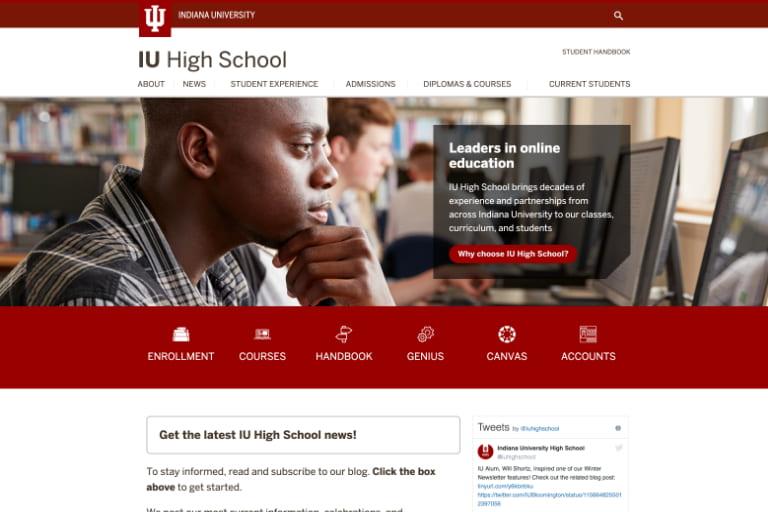 The new IU High School website