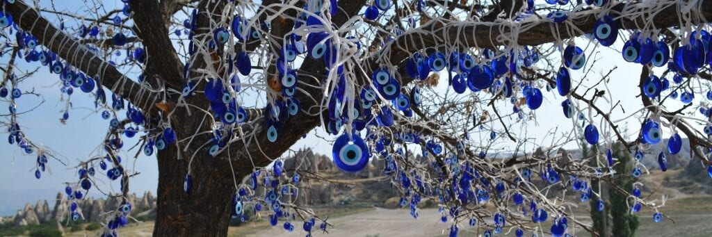 Tree covered with Nazar amulets