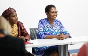 Ambassadors Eunice Reddick, right, and Hassana Alidou answer questions from IU ROTC cadets.