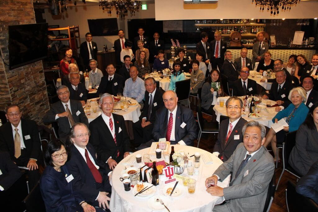 Members of the IU delegation celebrated the university's Japan Alumni Chapter, now 53 years old.