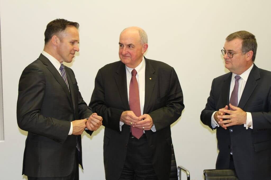 From left: Simon Jackman, CEO of the United States Studies Centre at the University of Sydney, IU President Michael A. McRobbie and Mark Baillie, chairman of the center.