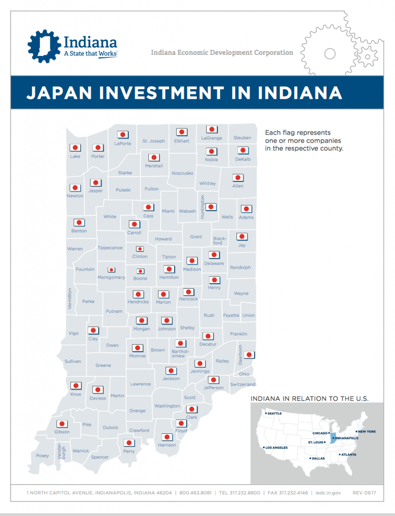 More than 280 Japanese companies operate across Indiana, and they employ more than 58,000 Hoosiers.