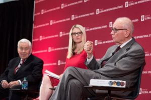 Former Rep. Lee Hamilton, right, makes a point with former Sen. Richard Lugar, left, and moderator Marie Harf. Ann Schertz