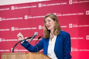 Samantha Power speaks at the America's Role in the World conference. Ann Schertz