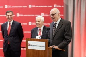 Former Sen. Dick Lugar (middle) and former Rep. Lee Hamilton (right) at last year's America's Role in the World Conference.