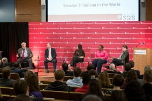 Panelists discuss Indiana's role in the world during the recent America's Role in the World conference. Photo by Ann Schertz