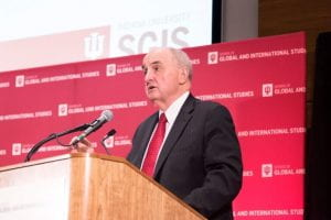 IU President Michael A. McRobbie addresses the conference attendees before the panel discussion. Photo by Ann Schertz