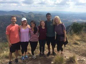 Eashan Kumar with peers in Montserrat.