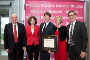 Jefferson and Mary Shreve, third and fourth from left, stand with IU President Michael A. McRobbie and first lady Laurie Burns McRobbie and Hamilton Lugar School Dean Lee Feinstein.