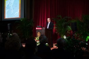 Beckwith speaking during the Distinguished Professors symposium.