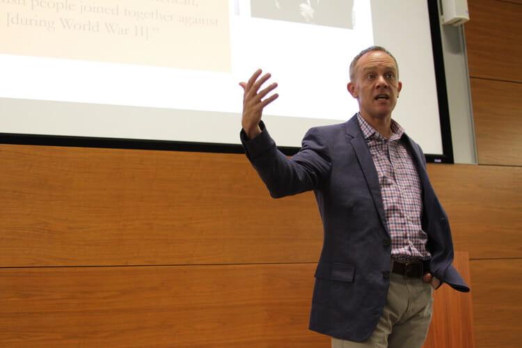 Patrick Michelson, associate professor of religious studies at IU, speaks to the Summer Language Workshop.