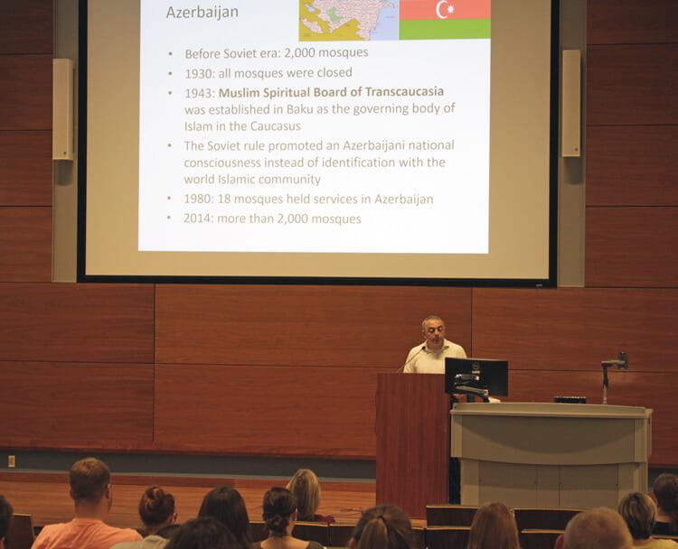 Sufian Zhemukhov, senior research associate at George Washington University, speaks at the Summer Language Workshop.