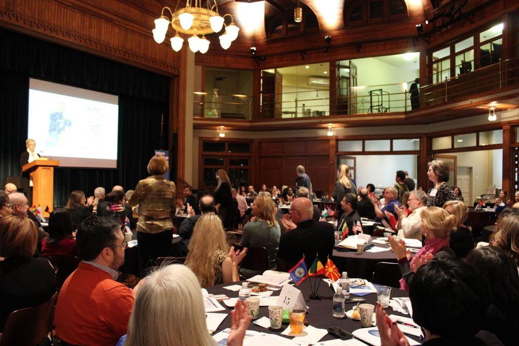 Hilary Kahn addresses group at Language Roadmap Summit
