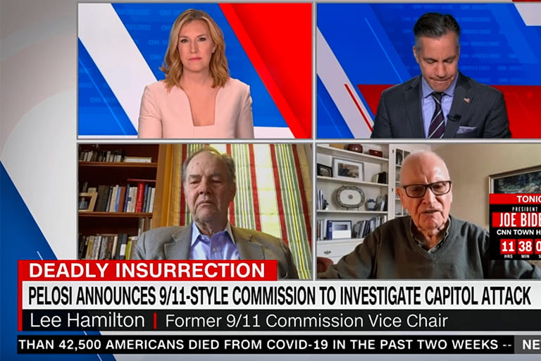 Rep. Lee Hamilton appears on CNN Newsroom with Gov. Tom Kean