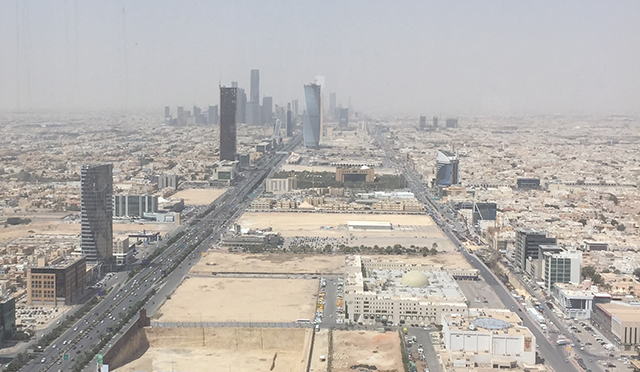 A view from the 77th floor of Kingdom Centre in Riyadh, Saudi Arabia