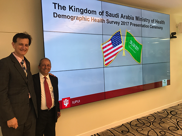 Dr. Hanafy Tantawy, PhD, Department of Homeland Security Officer with the Saudi Ministry of Health (r) and Professor of Biostatistics Constantin Yiannoutsos