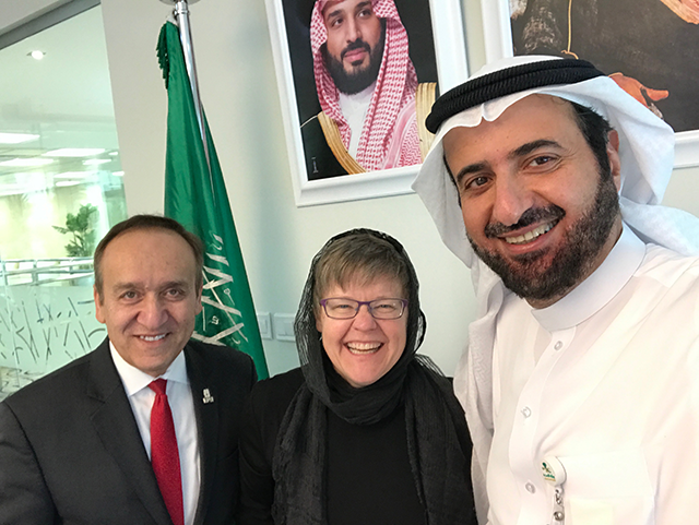 Chancellor Paydar, Becky Wood, and is Excellency the Minister of Health Dr. Tawfiq bin Fawzan Al-Rabiah