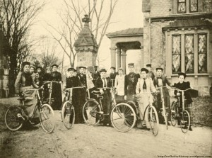 The 1892-93 Wellesley College Bicycle Club. According to Barbara Miller Solomon, bicycling at the time was a largely accepted sport for women. Photo courtesy of the blog Wellesley History, https://wellesleyhistory.wordpress.com/townsman-articles/where-is-east-lodge/