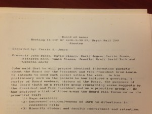 Minutes from a 1987 meeting. Click to enlarge.