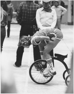 A 1980 rider at the starting line. Photo courtesy IU Archives, P0041414.