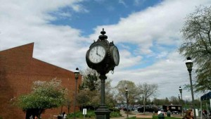 The iconic clock tower was placed on campus in 1987.