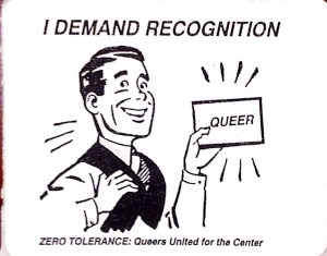 Sticker produced by Zero Tolerance to oppose changing the name of the GLBTSSS (Indiana University Gay, Lesbian, Bisexual, Transgender Student Support Services Office records, Collection C435, Office of University Archives and Records Management, Indiana University, Bloomington.)