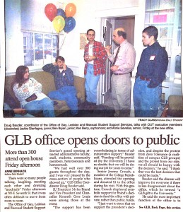 GLB Grand Opening. GLBTSSS Office Scrapbook, 1994-1998. Office of University Archives and Records Management, Indiana University, Bloomington