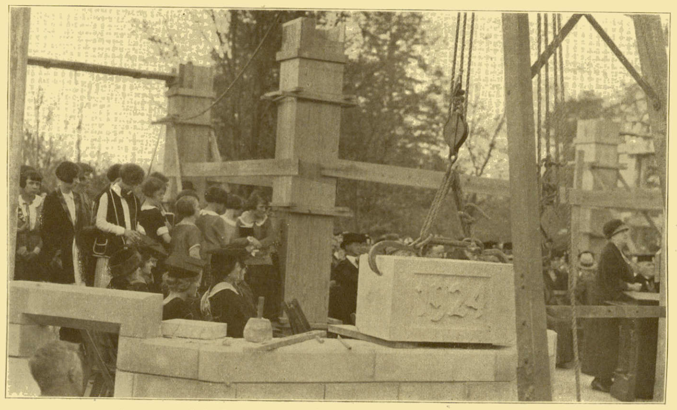 Image courtesy em the baker this image is for representation purpose - The Memorial Hall Cornerstone Is Laid On October 20 1924 Photo Courtesy Indiana University News Letter Vol Xiii No 2