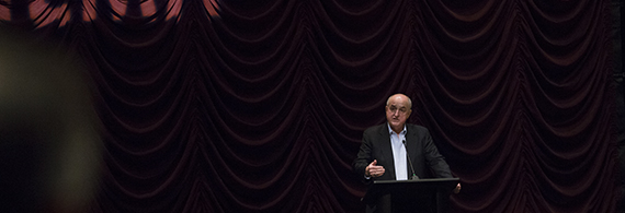 IU President Michael A. McRobbie introduces A Year of Living Dangerously at IU Cinema on Sunday, Oct. 9, 2016.