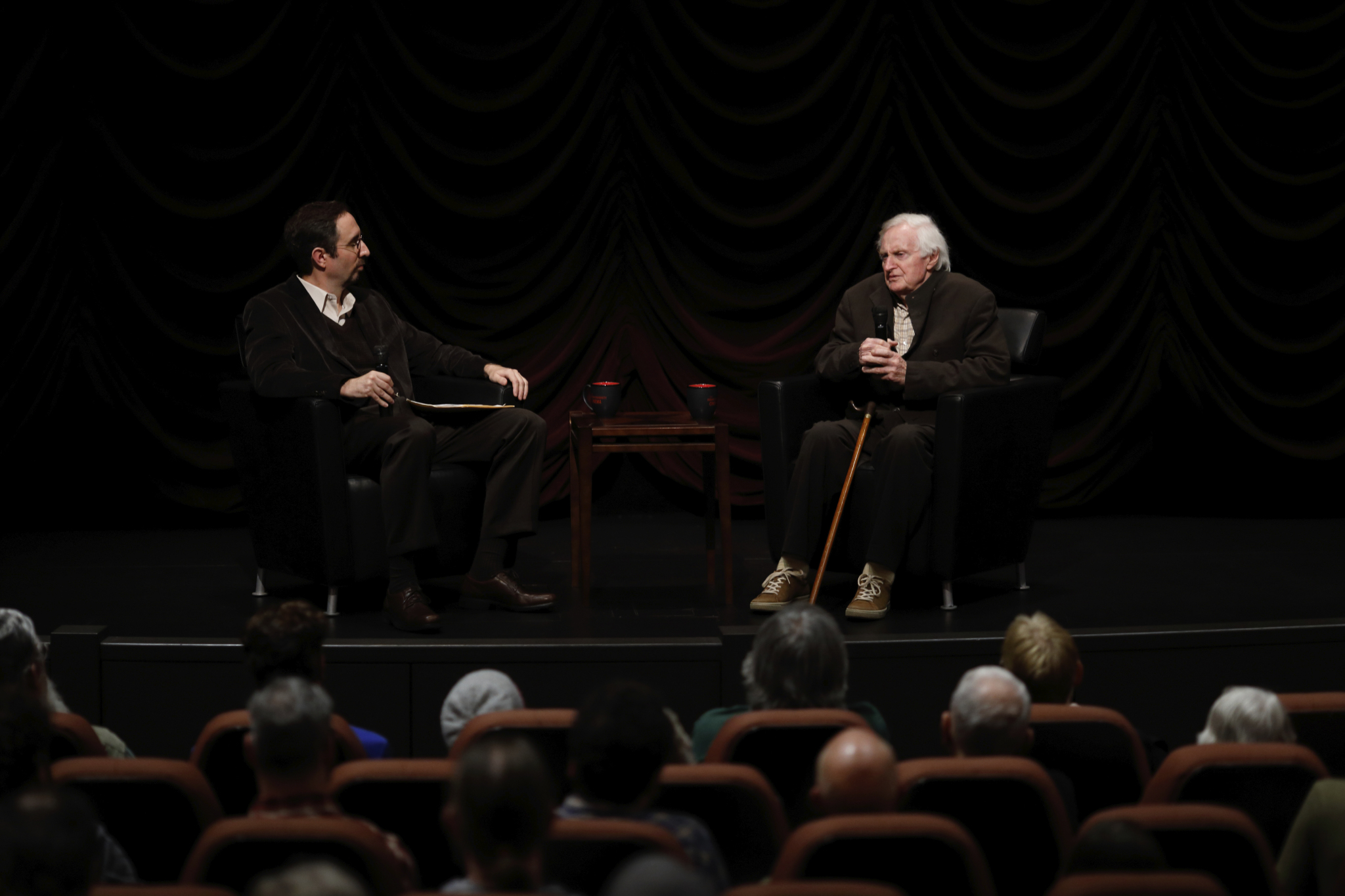 Craig Simpson and John Boorman on-stage during Jorgensen Guest Filmmaker Lecture on October 28, 2016.