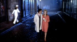 Still image from The Umbrellas of Cherbourg directed by Jacques Demy.