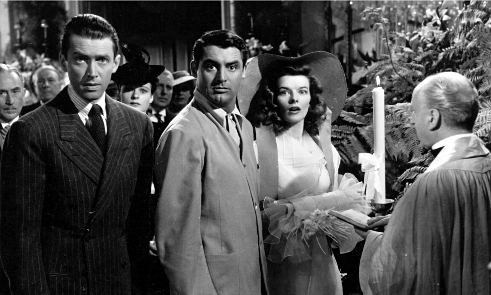 Still Image of James Stewart, Cary Grant and Katharine Hepburn from The Philadelphia Story directed by George Cukor.