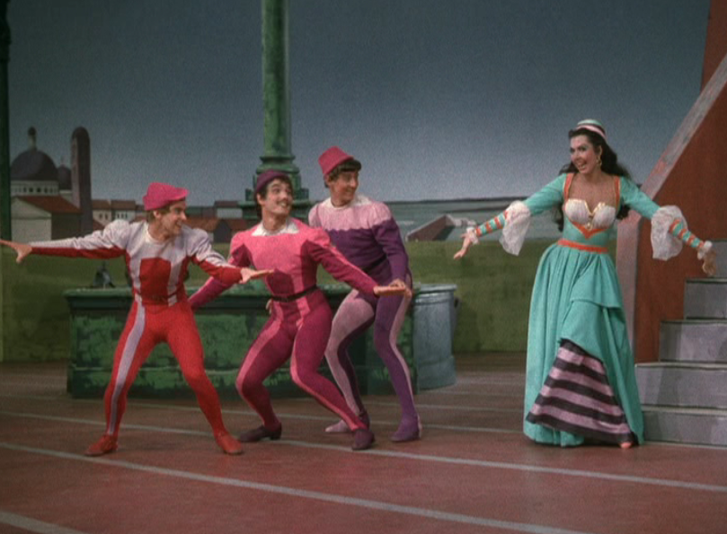 Bob Fosse, Tommy Rall, Bobby Van, and Ann Miller in Kiss Me, Kate