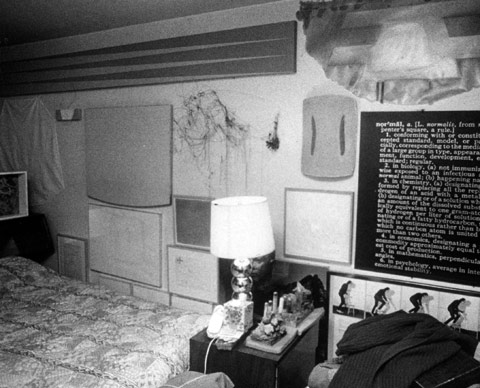The Vogels' bedroom with works by Leo Valledor, Gary Stephan, Richard Tuttle, Robert Mangold, Alan Saret, Ron Gorchov, Joseph Kosuth, Vito Acconci, Joseph Beuys, and Peter Hutchinson, among others, ca. 1975.