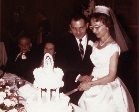 Dorothy and Herbert Vogel on their wedding day, January 14, 1962