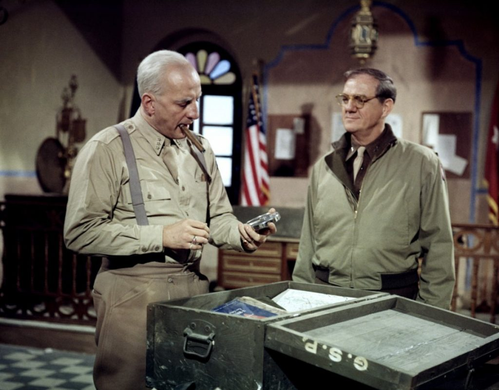 George C. Scott and Karl Malden as General Omar N. Bradley in Patton