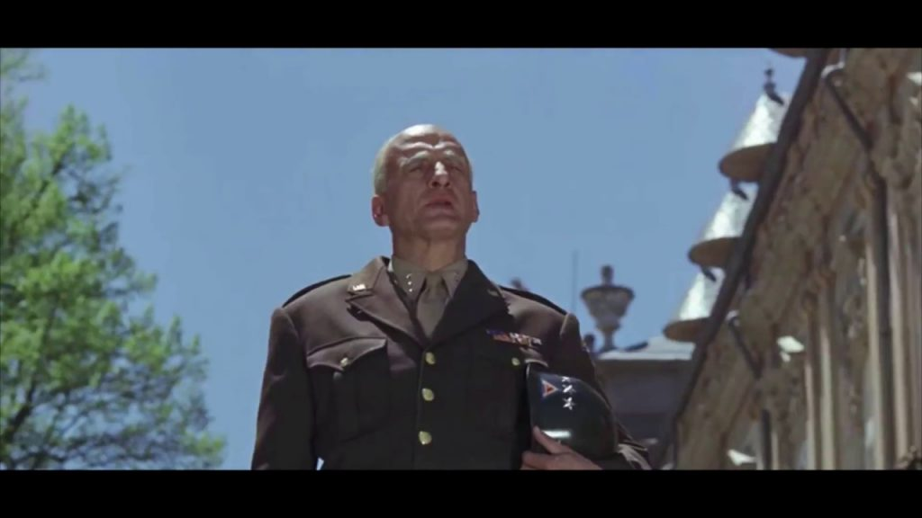 George C. Scott delivering Patton's apology to the Seventh Army