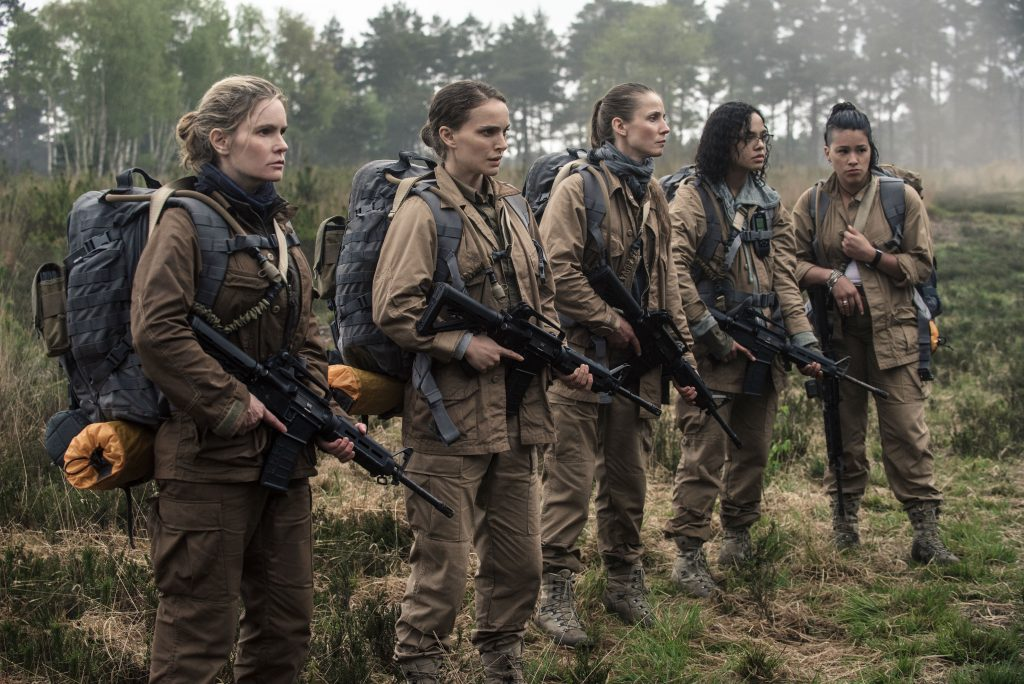 From left to right: Dr. Ventress (Jennifer Jason Leigh), Lena (Natalie Portman), Cass (Tuva Novotny), Josie (Tessa Thompson), and Anya (Gina Rodriguez) in Annihilation