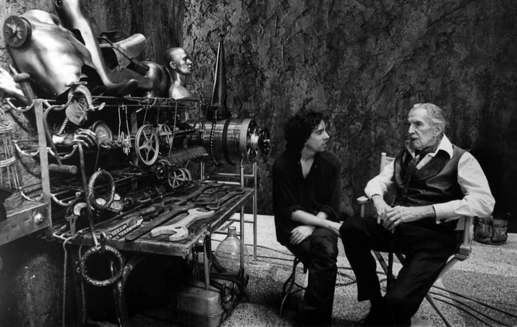 Burton and Price on the set of Edward Scissorhands