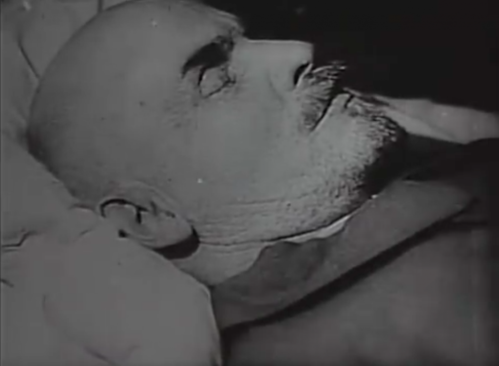 Lenin lying in his coffin: Three Songs of Lenin (1934)
