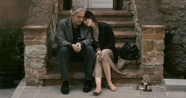Binoche and Shimell share a tender moment in Certified Copy